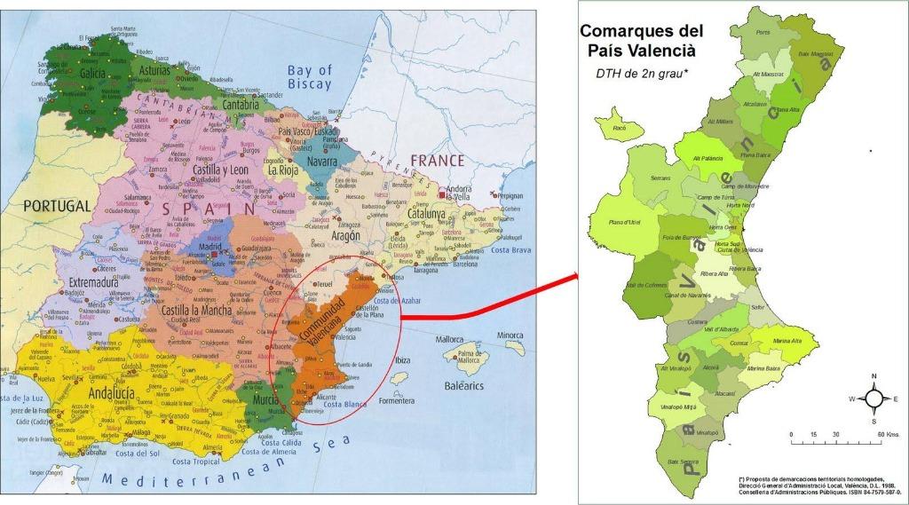 region valensiya mapa Регион Валенсия жемчужина Испании: провинции Валенсия, Аликанте, Кастельон