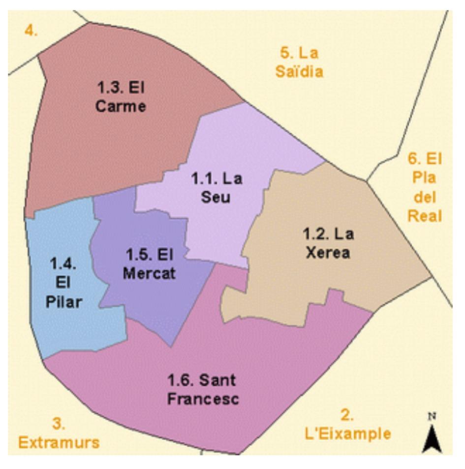 kvartaly rajon ciutat vella Районы Валенсии, часть 2 (1-3, Ciutat Vella, L'Eixample, Extramurs)