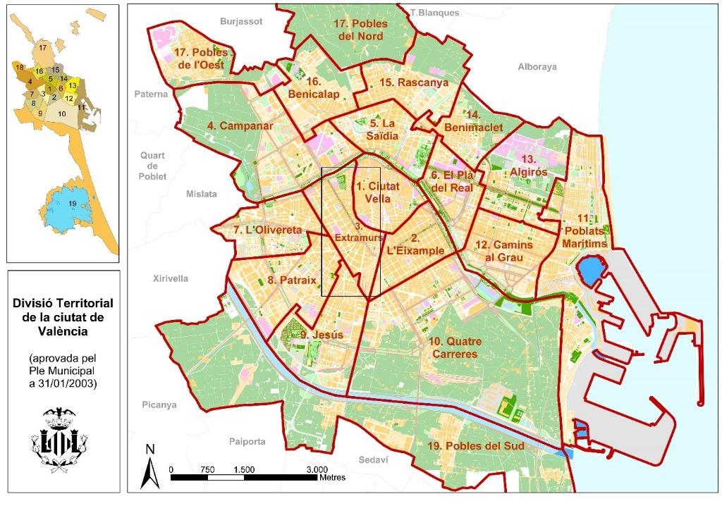 rajon Районы Валенсии, часть 2 (1-3, Ciutat Vella, L'Eixample, Extramurs)