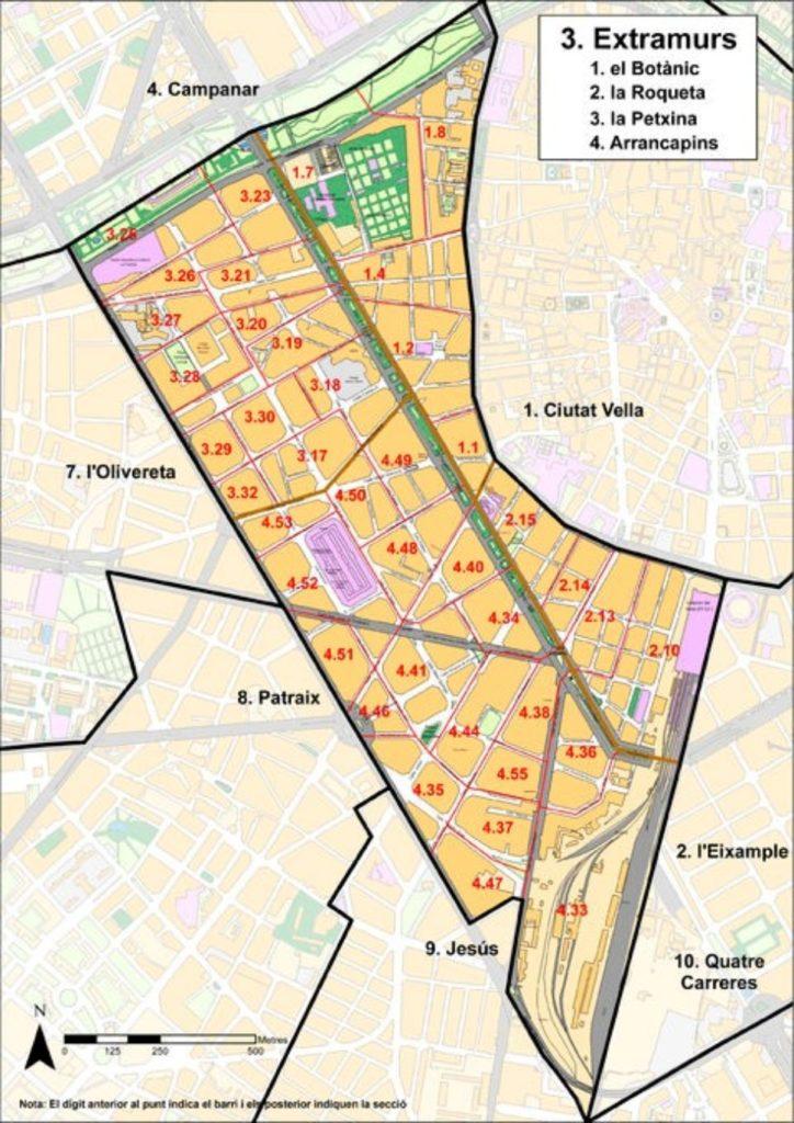 rajon goroda extramurs Районы Валенсии, часть 2 (1-3, Ciutat Vella, L'Eixample, Extramurs)
