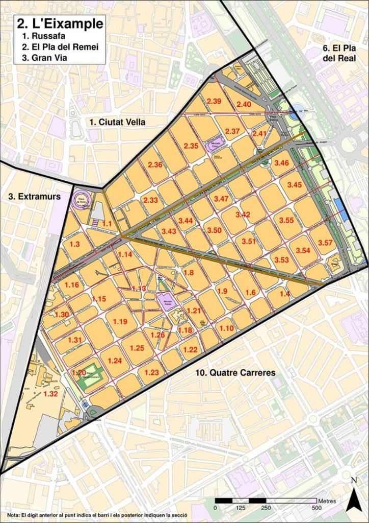 rajon leixample kvartaly Районы Валенсии, часть 2 (1-3, Ciutat Vella, L'Eixample, Extramurs)