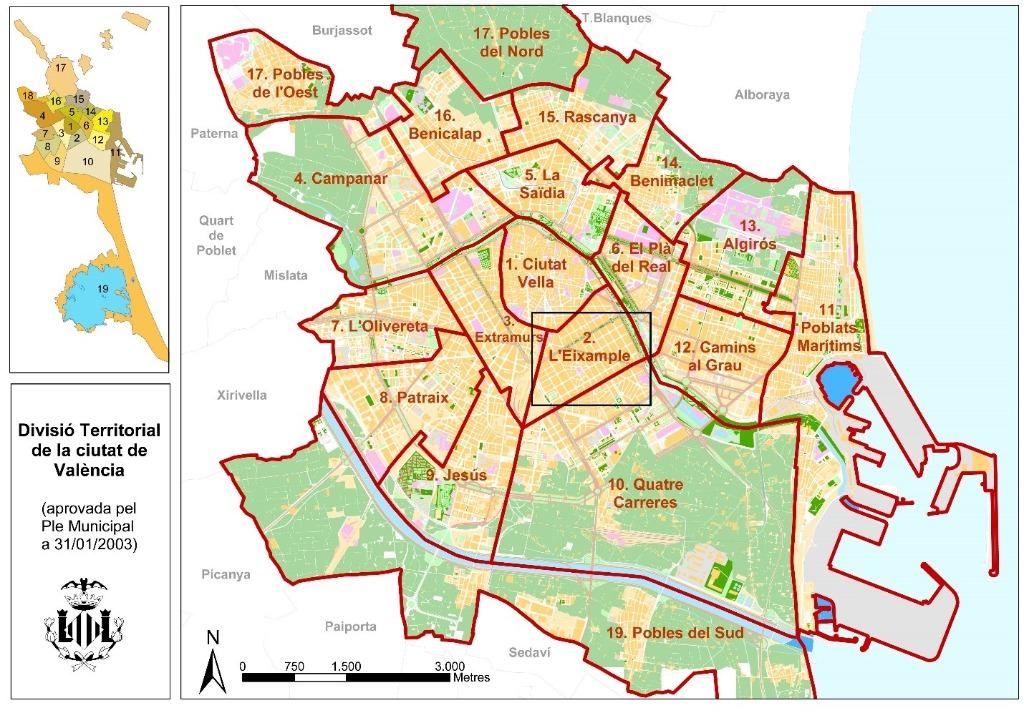 valensiya rajon Районы Валенсии, часть 2 (1-3, Ciutat Vella, L'Eixample, Extramurs)